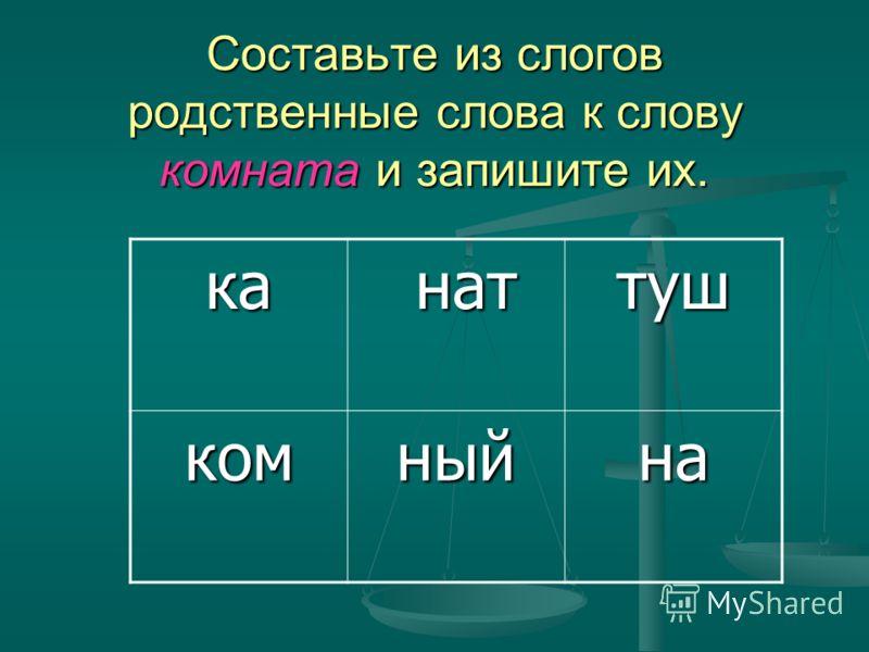 Составьте из слогов родственные слова к слову комната и запишите их. ка нат наттуш комныйна