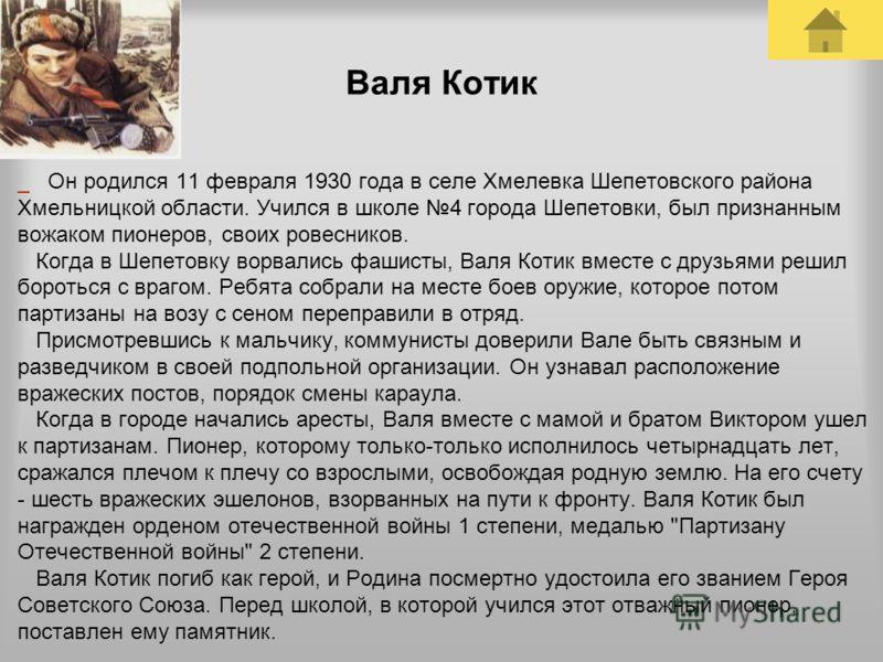 Валя Котик Он родился 11 февраля 1930 года в селе Хмелевка Шепетовского района Хмельницкой области. Учился в школе 4 города Шепетовки, был признанным вожаком пионеров, своих ровесников. Когда в Шепетовку ворвались фашисты, Валя Котик вместе с друзьям
