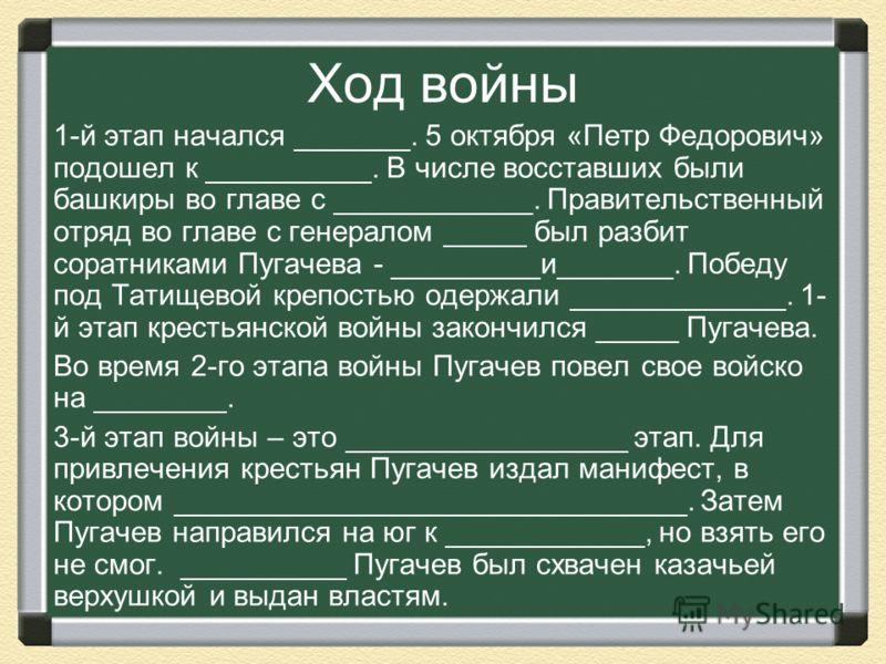 Ход войны 1-й этап начался _______. 5 октября «Петр Федорович» подошел к __________. В числе восставших были башкиры во главе с ____________. Правительственный отряд во главе с генералом _____ был разбит соратниками Пугачева - _________и_______. Побе