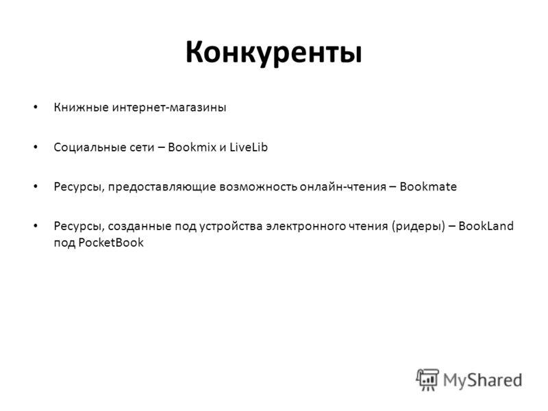 Конкуренты Книжные интернет-магазины Социальные сети – Bookmix и LiveLib Ресурсы, предоставляющие возможность онлайн-чтения – Bookmate Ресурсы, созданные под устройства электронного чтения (ридеры) – BookLand под PocketBook