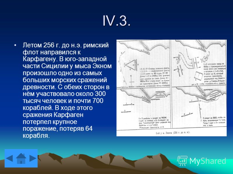 IV.3. Летом 256 г. до н.э. римский флот направился к Карфагену. В юго-западной части Сицилии у мыса Экном произошло одно из самых больших морских сражений древности. С обеих сторон в нём участвовало около 300 тысяч человек и почти 700 кораблей. В ход