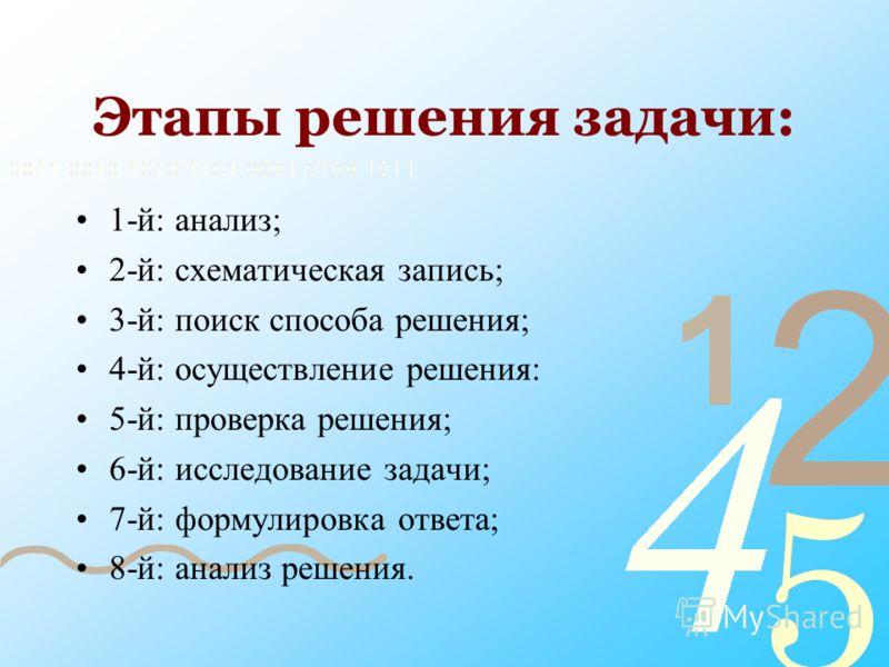 Этапы решения задачи: 1-й: анализ; 2-й: схематическая запись; 3-й: поиск способа решения; 4-й: осуществление решения: 5-й: проверка решения; 6-й: исследование задачи; 7-й: формулировка ответа; 8-й: анализ решения.