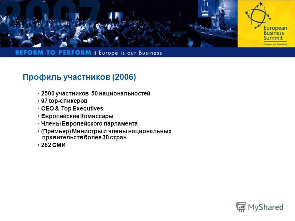 Профиль участников (2006) 2500 участников 50 национальностей 97 top-спикеров CEO & Top Executives Европейские Комиссары Члены Европейского парламента (Премьер) Министры и члены национальных правительств более 30 стран 262 СМИ