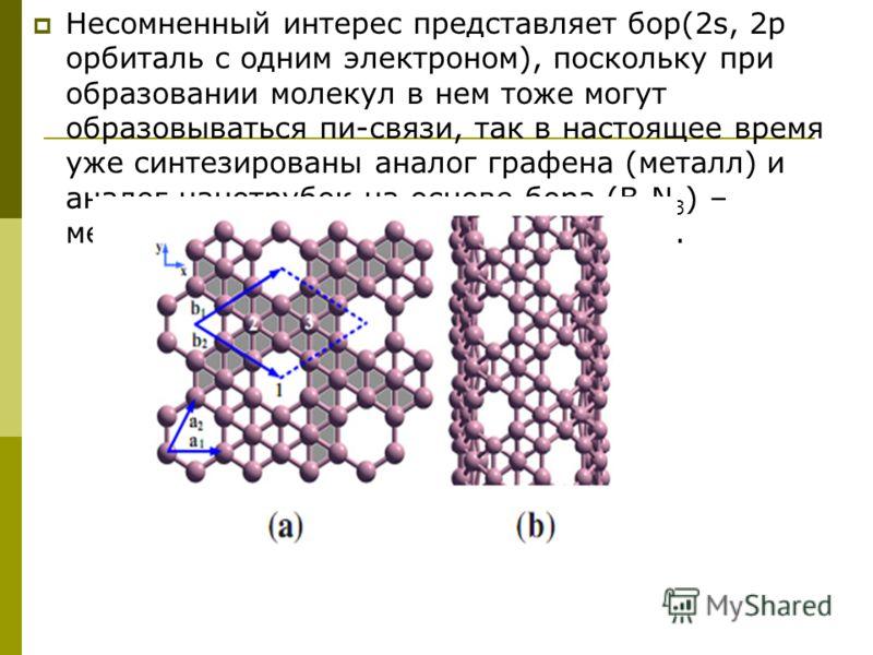 Несомненный интерес представляет бор(2s, 2р орбиталь c одним электроном), поскольку при образовании молекул в нем тоже могут образовываться пи-связи, так в настоящее время уже синтезированы аналог графена (металл) и аналог нанотрубок на основе бора (