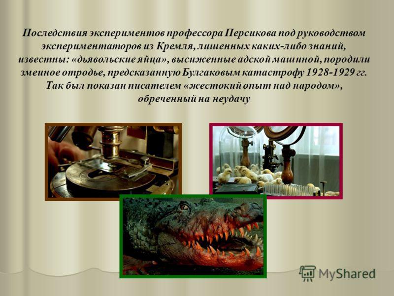 Последствия экспериментов профессора Персикова под руководством экспериментаторов из Кремля, лишенных каких-либо знаний, известны: «дьявольские яйца», высиженные адской машиной, породили змеиное отродье, предсказанную Булгаковым катастрофу 1928-1929
