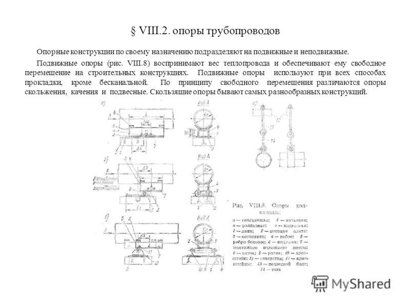 § VIII.2. опоры трубопроводов Опорные конструкции по своему назначению подразделяют на подвижные и неподвижные. Подвижные опоры (рис. VIII.8) воспринимают вес теплопровода и обеспечивают ему свободное перемещение на строительных конструкциях. Подвижн