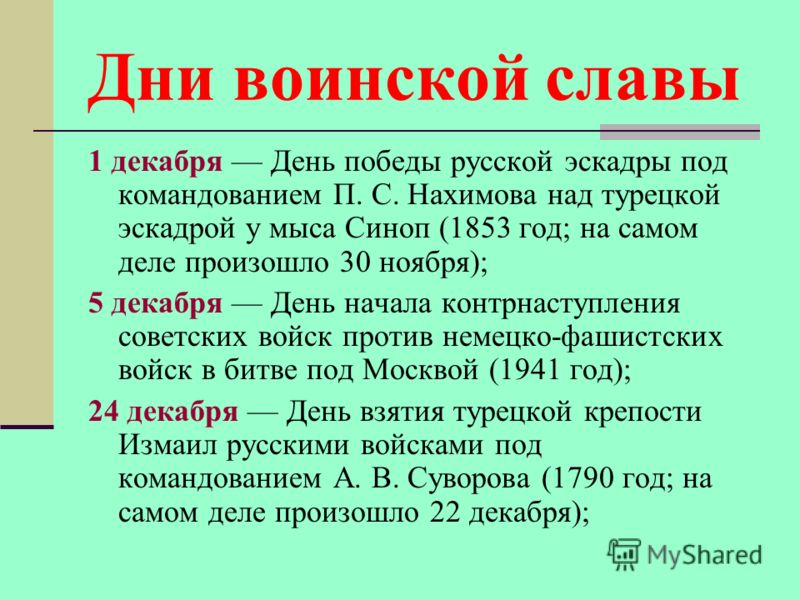 Дни воинской славы 1 декабря День победы русской эскадры под командованием П. С. Нахимова над турецкой эскадрой у мыса Синоп (1853 год; на самом деле произошло 30 ноября); 5 декабря День начала контрнаступления советских войск против немецко-фашистск