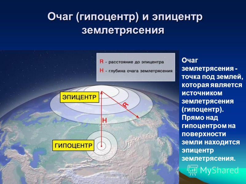 Очаг (гипоцентр) и эпицентр землетрясения Очаг (гипоцентр) и эпицентр землетрясения Очаг землетрясения - точка под землей, которая является источником землетрясения (гипоцентр). Прямо над гипоцентром на поверхности земли находится эпицентр землетрясе