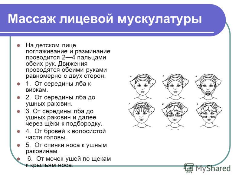 Массаж лицевой мускулатуры На детском лице поглаживание и разминание проводится 24 пальцами обеих рук. Движения проводятся обеими руками равномерно с двух сторон. 1. От середины лба к вискам. 2. От середины лба до ушных раковин. 3. От середины лба до