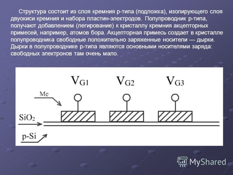 Структура состоит из слоя кремния р-типа (подложка), изолирующего слоя двуокиси кремния и набора пластин-электродов. Полупроводник р-типа, получают добавлением (легирование) к кристаллу кремния акцепторных примесей, например, атомов бора. Акцепторная