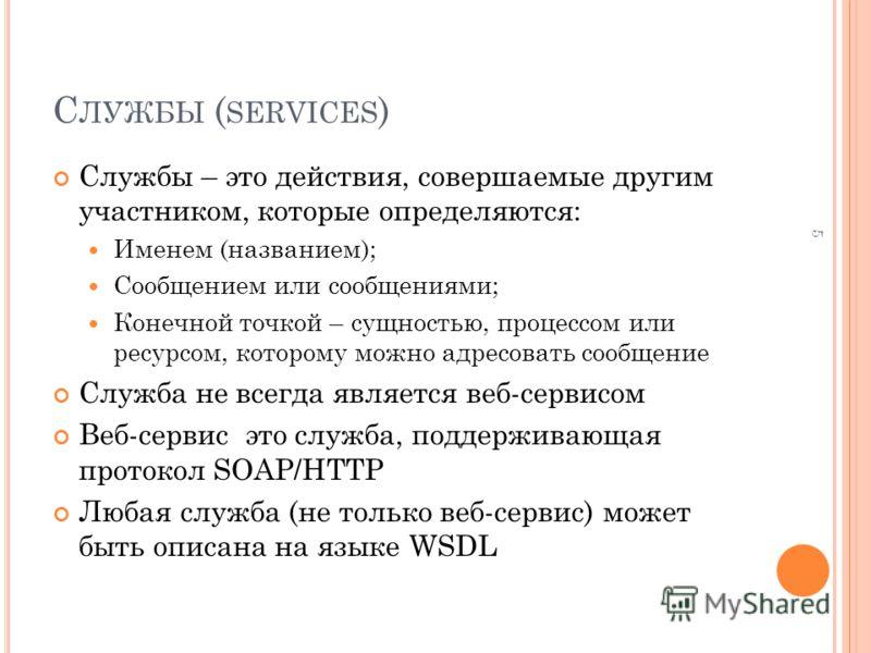С ЛУЖБЫ ( SERVICES ) Службы – это действия, совершаемые другим участником, которые определяются: Именем (названием); Сообщением или сообщениями; Конечной точкой – сущностью, процессом или ресурсом, которому можно адресовать сообщение Служба не всегда