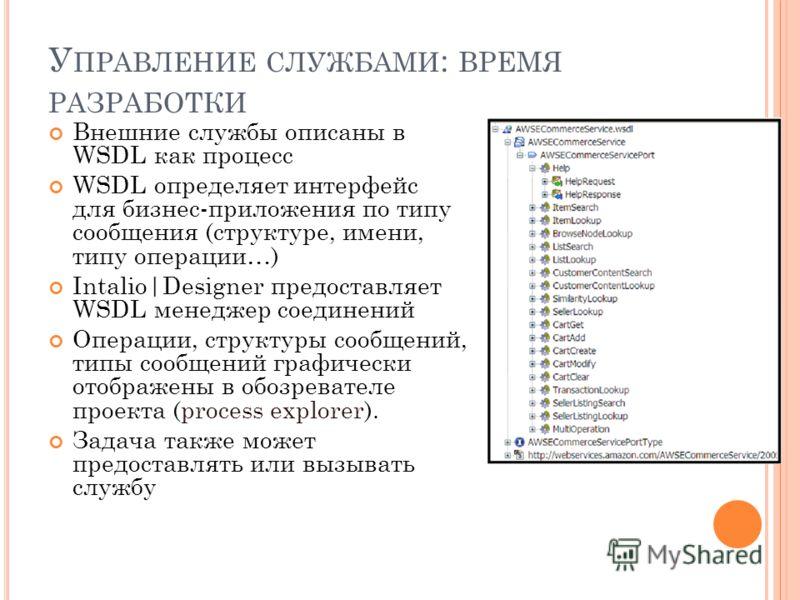 У ПРАВЛЕНИЕ СЛУЖБАМИ : ВРЕМЯ РАЗРАБОТКИ Внешние службы описаны в WSDL как процесс WSDL определяет интерфейс для бизнес-приложения по типу сообщения (структуре, имени, типу операции…) Intalio|Designer предоставляет WSDL менеджер соединений Операции, с