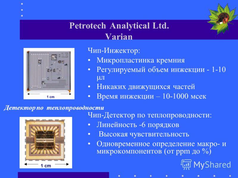 Petrotech Analytical Ltd. Varian Чип-Инжектор: Микропластинка кремния Регулируемый объем инжекции - 1-10 μл Никаких движущихся частей Время инжекции – 10-1000 мсек Чип-Детектор по теплопроводности: Линейность -6 порядков Высокая чувствительность Одно