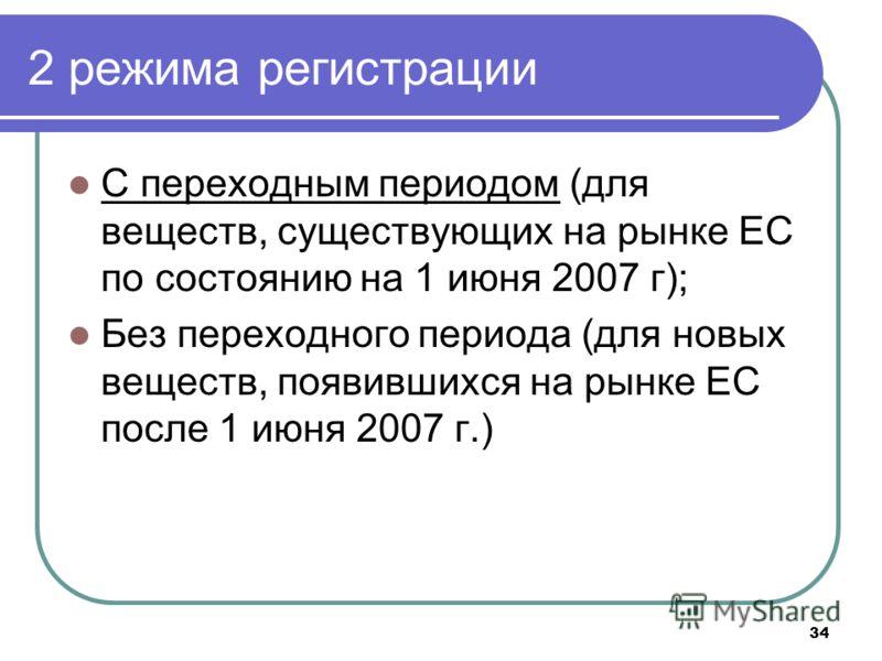 34 2 режима регистрации С переходным периодом (для веществ, существующих на рынке ЕС по состоянию на 1 июня 2007 г); Без переходного периода (для новых веществ, появившихся на рынке ЕС после 1 июня 2007 г.)