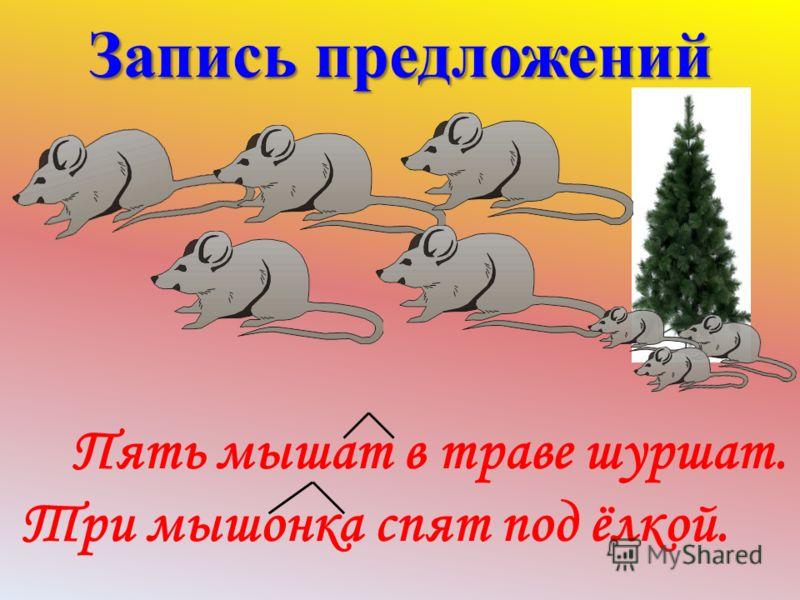 Работа в группах Работа в группах 1. мышат, в, шуршат. Пять, траве 2. мышонка, под, спят, Три, ёлкой.