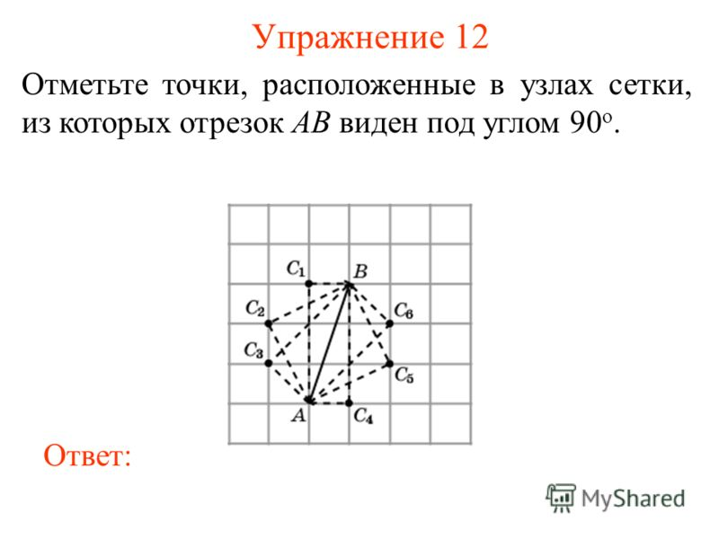 Упражнение 12 Отметьте точки, расположенные в узлах сетки, из которых отрезок AB виден под углом 90 о. Ответ: