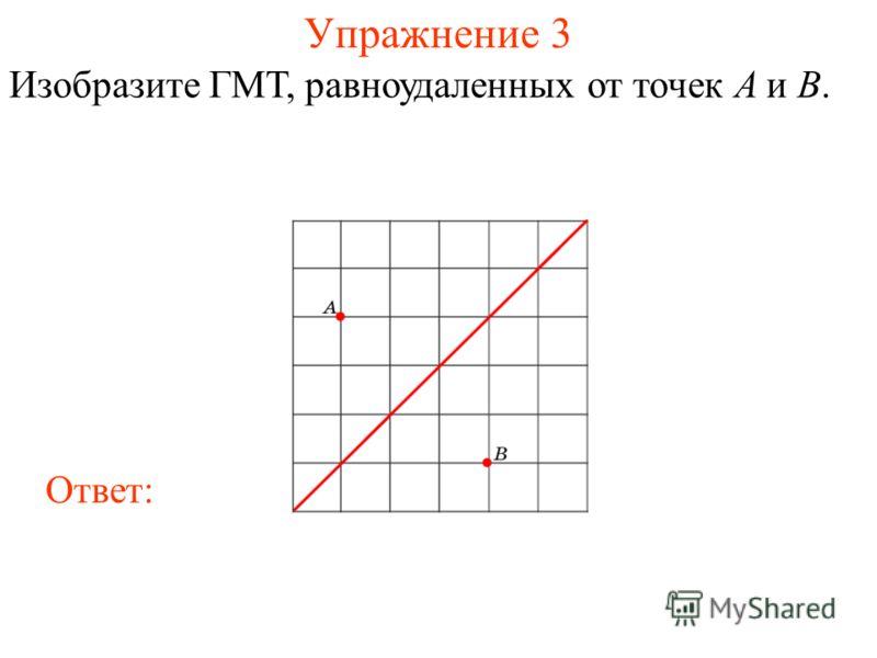 Упражнение 3 Изобразите ГМТ, равноудаленных от точек A и B. Ответ: