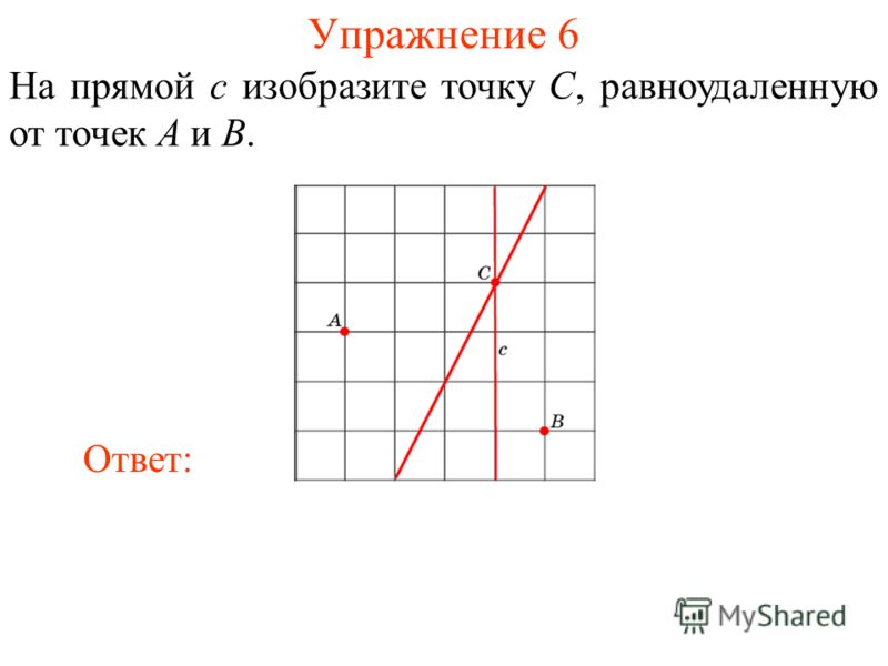 Упражнение 6 На прямой c изобразите точку C, равноудаленную от точек A и B. Ответ: