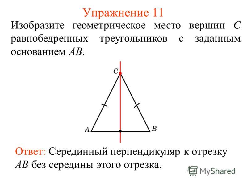 Упражнение 11 Изобразите геометрическое место вершин С равнобедренных треугольников с заданным основанием AB. Ответ: Серединный перпендикуляр к отрезку AB без середины этого отрезка.