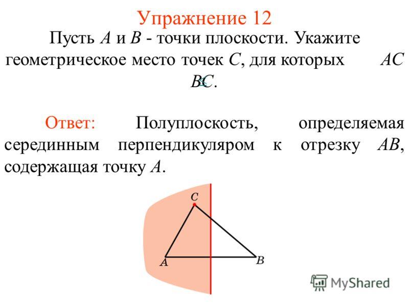 Упражнение 12 Пусть А и В - точки плоскости. Укажите геометрическое место точек С, для которых АС ВС. Ответ: Полуплоскость, определяемая серединным перпендикуляром к отрезку AB, содержащая точку A.