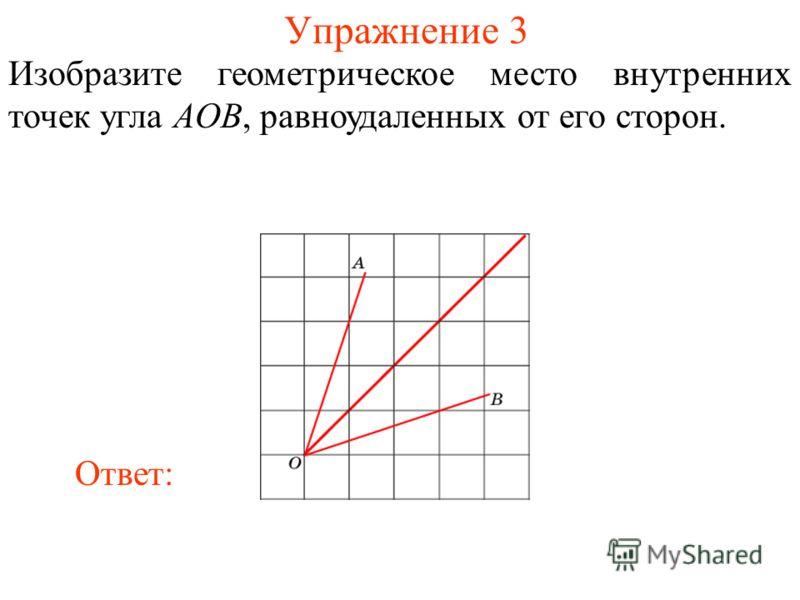 Упражнение 3 Изобразите геометрическое место внутренних точек угла AOB, равноудаленных от его сторон. Ответ: