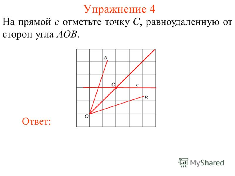 Упражнение 4 На прямой c отметьте точку C, равноудаленную от сторон угла AOB. Ответ: