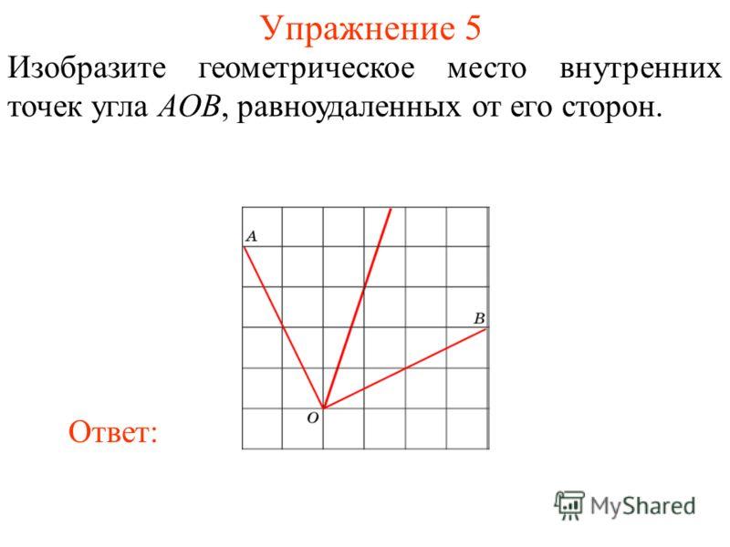 Упражнение 5 Изобразите геометрическое место внутренних точек угла AOB, равноудаленных от его сторон. Ответ: