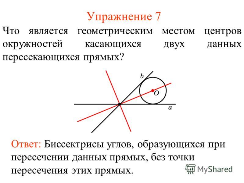 Упражнение 7 Что является геометрическим местом центров окружностей касающихся двух данных пересекающихся прямых? Ответ: Биссектрисы углов, образующихся при пересечении данных прямых, без точки пересечения этих прямых.