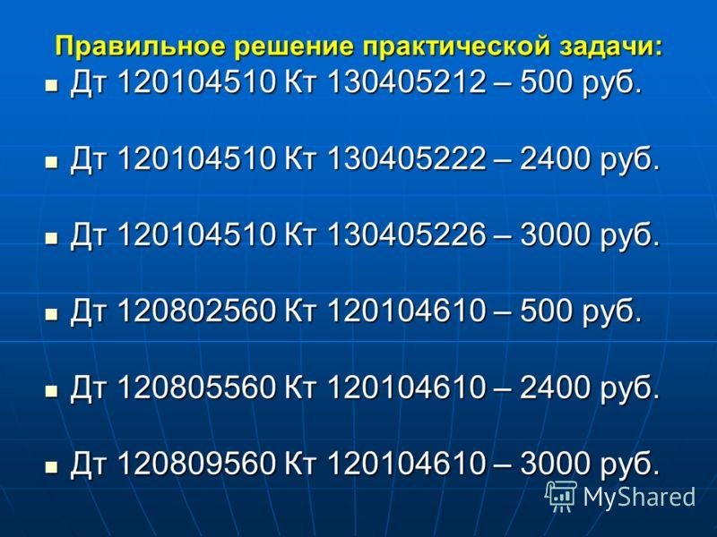 Правильное решение практической задачи: Дт 120104510 Кт 130405212 – 500 руб. Дт 120104510 Кт 130405212 – 500 руб. Дт 120104510 Кт 130405222 – 2400 руб. Дт 120104510 Кт 130405222 – 2400 руб. Дт 120104510 Кт 130405226 – 3000 руб. Дт 120104510 Кт 130405