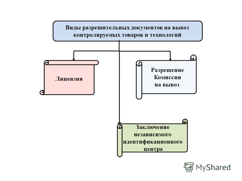 Заключение независимого идентификационного центра Лицензия Разрешение Комиссии на вывоз Виды разрешительных документов на вывоз контролируемых товаров и технологий