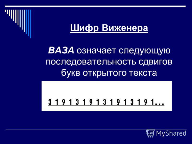 Шифр Виженера ВАЗА означает следующую последовательность сдвигов букв открытого текста