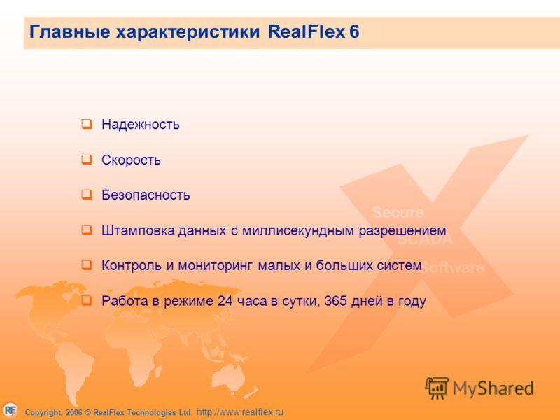 Copyright, 2006 © RealFlex Technologies Ltd. http://www.realflex.ru Главные характеристики RealFlex 6 Надежность Скорость Безопасность Штамповка данных с миллисекундным разрешением Контроль и мониторинг малых и больших систем Работа в режиме 24 часа
