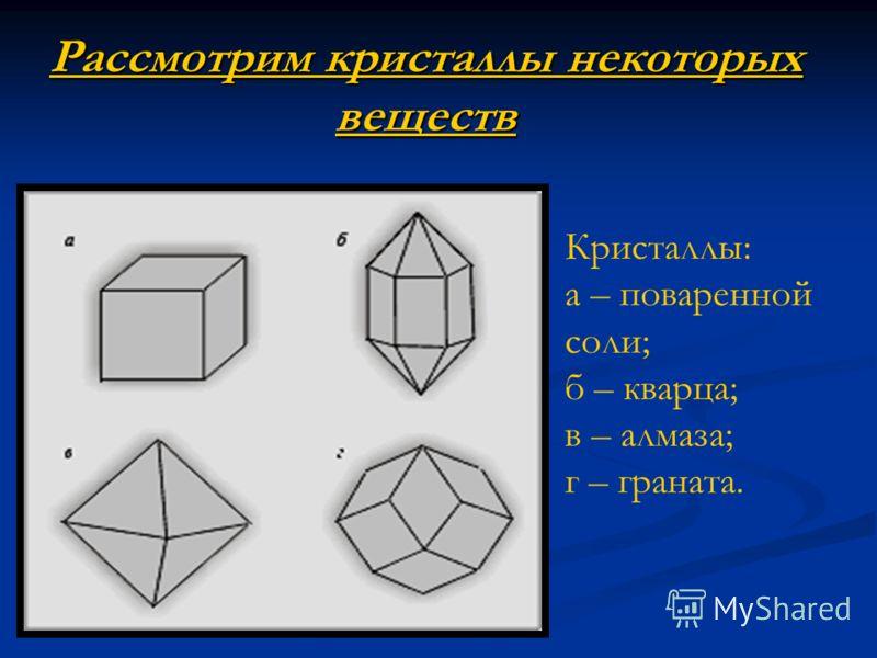 Рассмотрим кристаллы некоторых веществ Кристаллы: а – поваренной соли; б – кварца; в – алмаза; г – граната.