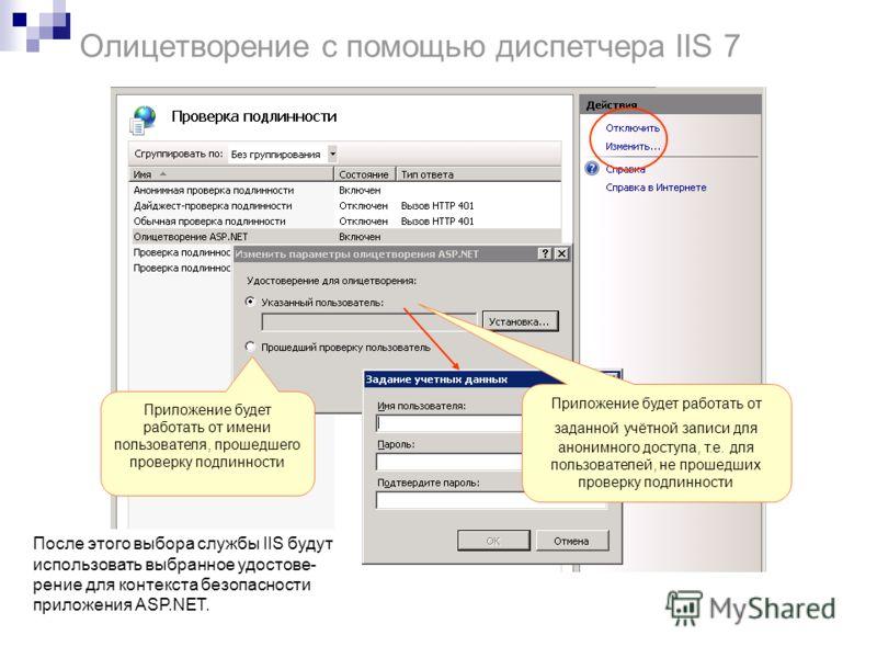 Олицетворение с помощью диспетчера IIS 7 После этого выбора службы IIS будут использовать выбранное удостове- рение для контекста безопасности приложения ASP.NET. Приложение будет работать от заданной учётной записи для анонимного доступа, т.е. для п