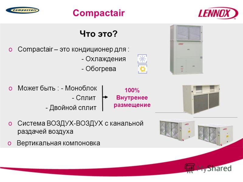 Что это? oCompactair – это кондиционер для : - Охлаждения - Обогрева Compactair oМожет быть : - Моноблок - Сплит - Двойной сплит oСистема ВОЗДУХ-ВОЗДУХ с канальной раздачей воздуха 100% Внутренее размещение oВертикальная компоновка