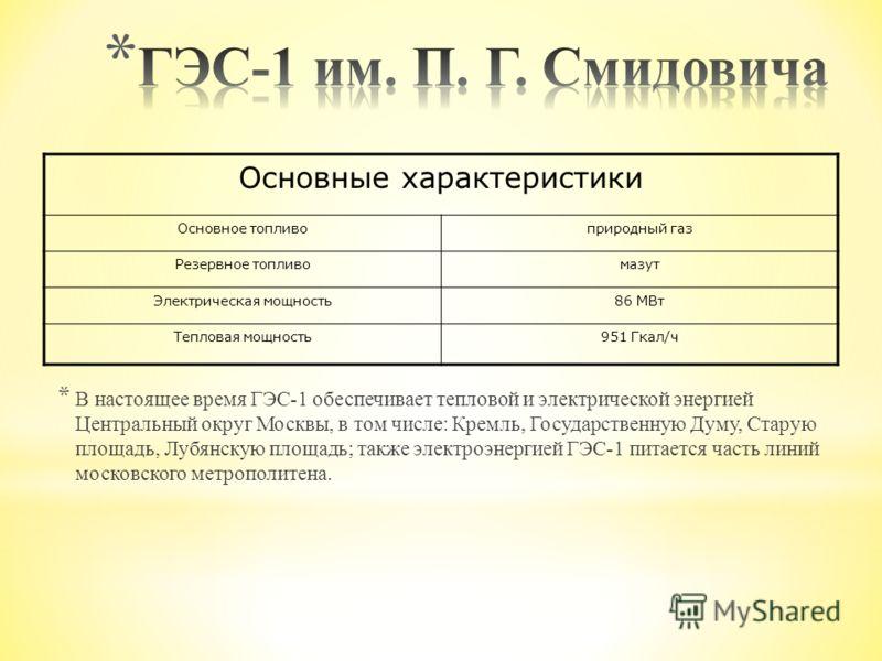 Основные характеристики Основное топливоприродный газ Резервное топливомазут Электрическая мощность86 МВт Тепловая мощность951 Гкал/ч * В настоящее время ГЭС-1 обеспечивает тепловой и электрической энергией Центральный округ Москвы, в том числе: Крем
