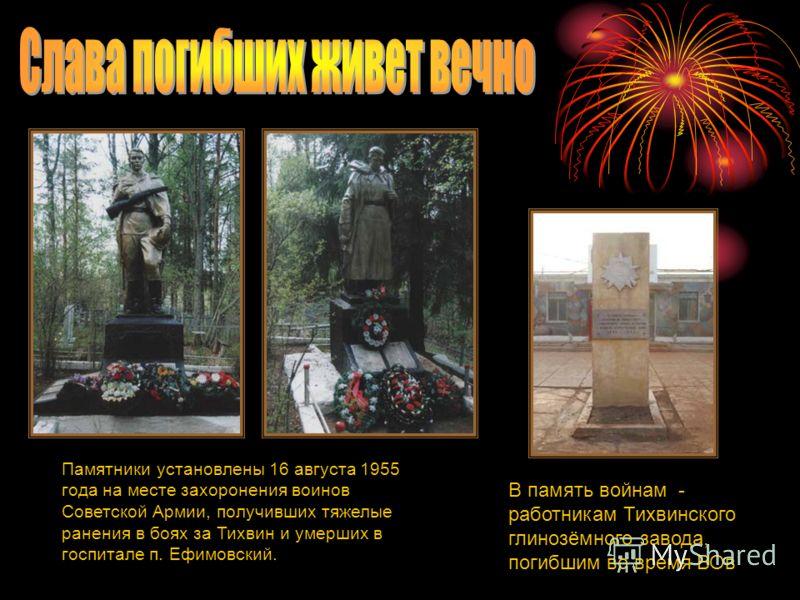 Памятники установлены 16 августа 1955 года на месте захоронения воинов Советской Армии, получивших тяжелые ранения в боях за Тихвин и умерших в госпитале п. Ефимовский. В память войнам - работникам Тихвинского глинозёмного завода, погибшим во время В