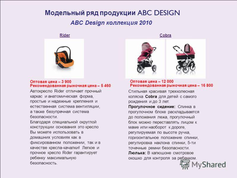Модельный ряд продукции ABC Design коллекция 2010 Cobra Стильная красивая трехколесная коляска Cobra для детей с самого рождения и до 3 лет. Прогулочное сидение: Спинка в прогулочном блоке раскладывается до положения лежа, прогулочный блок можно пере