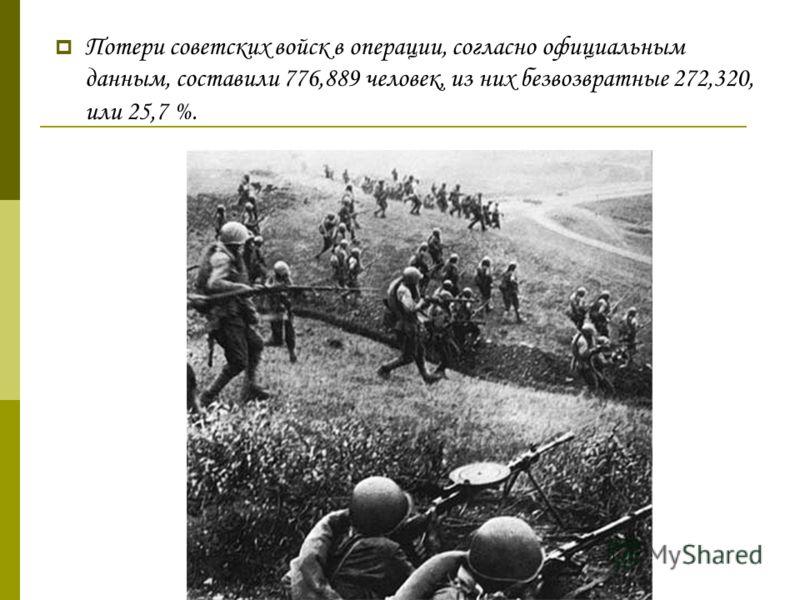 Потери советских войск в операции, согласно официальным данным, составили 776,889 человек, из них безвозвратные 272,320, или 25,7 %.