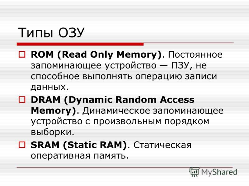 Типы ОЗУ ROM (Read Only Memory). Постоянное запоминающее устройство ПЗУ, не способное выполнять операцию записи данных. DRAM (Dynamic Random Access Memory). Динамическое запоминающее устройство с произвольным порядком выборки. SRAM (Static RAM). Стат