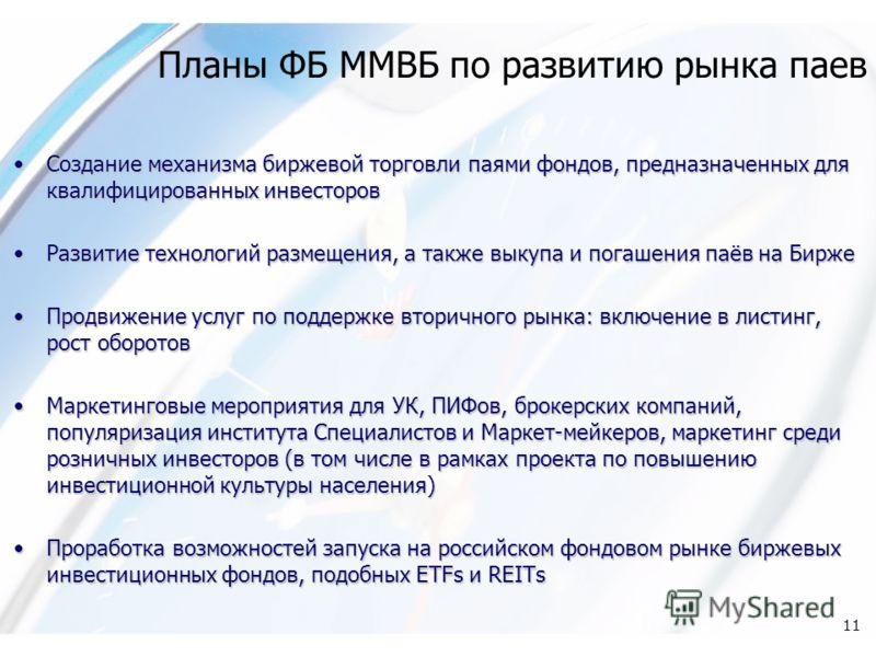 11 Планы ФБ ММВБ по развитию рынка паев Создание механизма биржевой торговли паями фондов, предназначенных для квалифицированных инвесторовСоздание механизма биржевой торговли паями фондов, предназначенных для квалифицированных инвесторов Развитие те