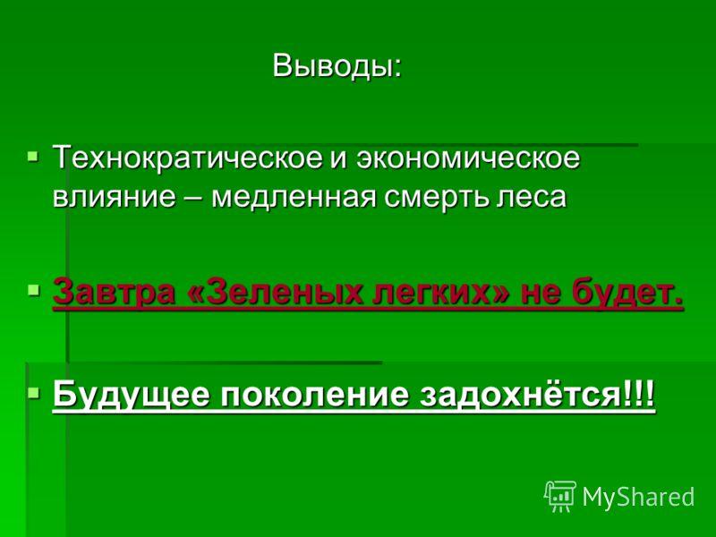 Выводы: Выводы: Технократическое и экономическое влияние – медленная смерть леса Технократическое и экономическое влияние – медленная смерть леса Завтра «Зеленых легких» не будет. Завтра «Зеленых легких» не будет. Будущее поколение задохнётся!!! Буду
