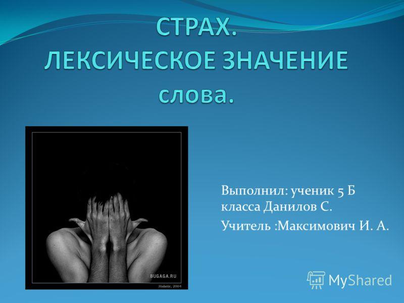 Выполнил: ученик 5 Б класса Данилов С. Учитель :Максимович И. А.