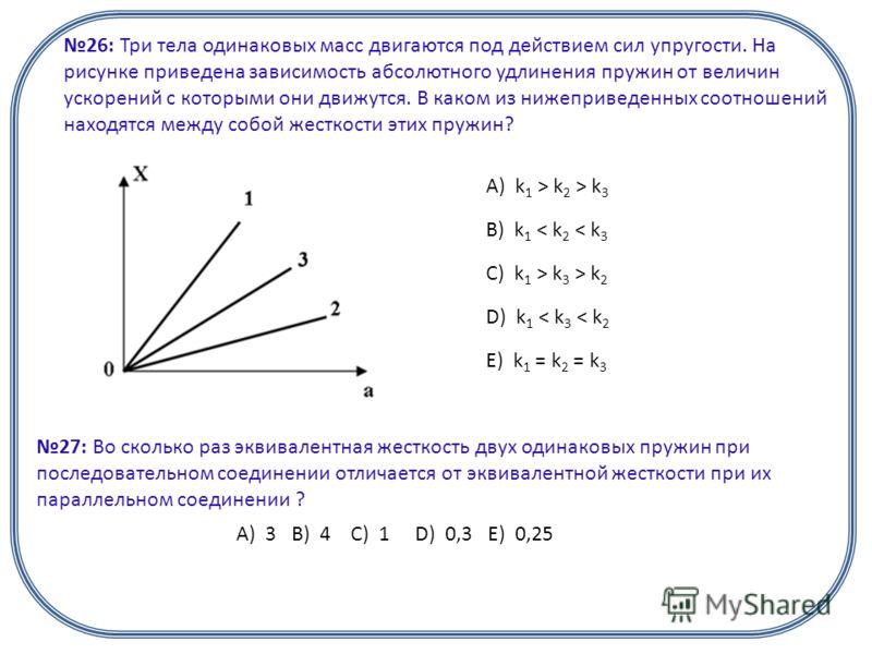 26: Три тела одинаковых масс двигаются под действием сил упругости. На рисунке приведена зависимость абсолютного удлинения пружин от величин ускорений с которыми они движутся. В каком из нижеприведенных соотношений находятся между собой жесткости эти