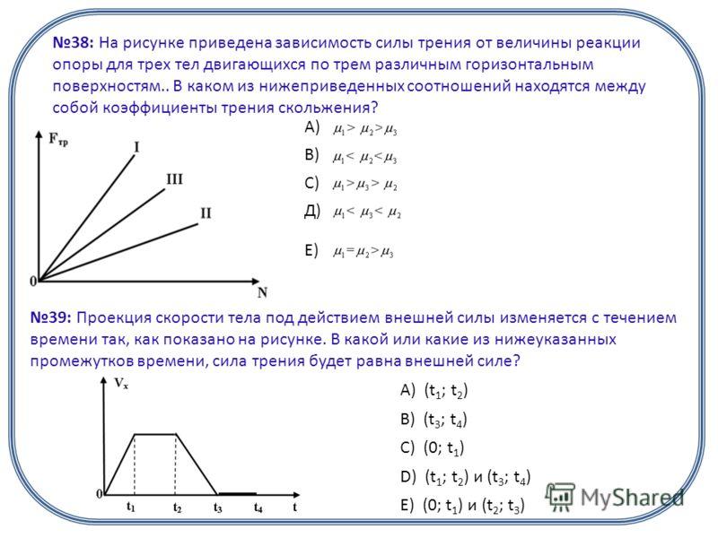38: На рисунке приведена зависимость силы трения от величины реакции опоры для трех тел двигающихся по трем различным горизонтальным поверхностям.. В каком из нижеприведенных соотношений находятся между собой коэффициенты трения скольжения? А) В) С)