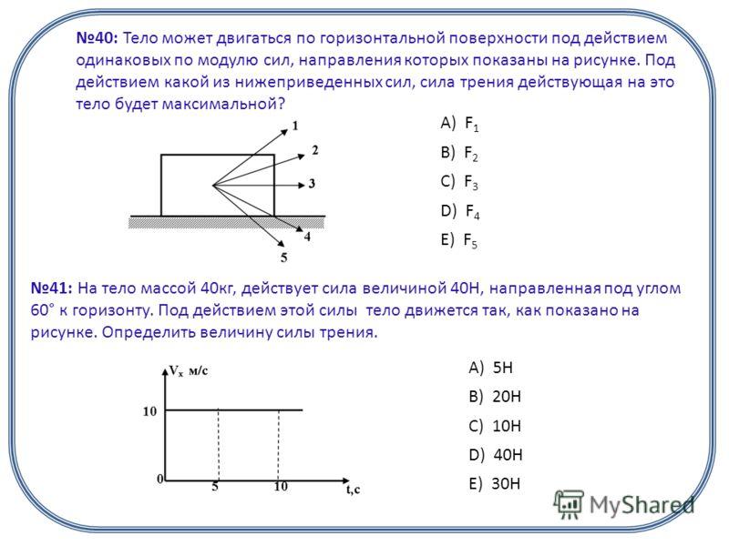 40: Тело может двигаться по горизонтальной поверхности под действием одинаковых по модулю сил, направления которых показаны на рисунке. Под действием какой из нижеприведенных сил, сила трения действующая на это тело будет максимальной? А) F 1 B) F 2