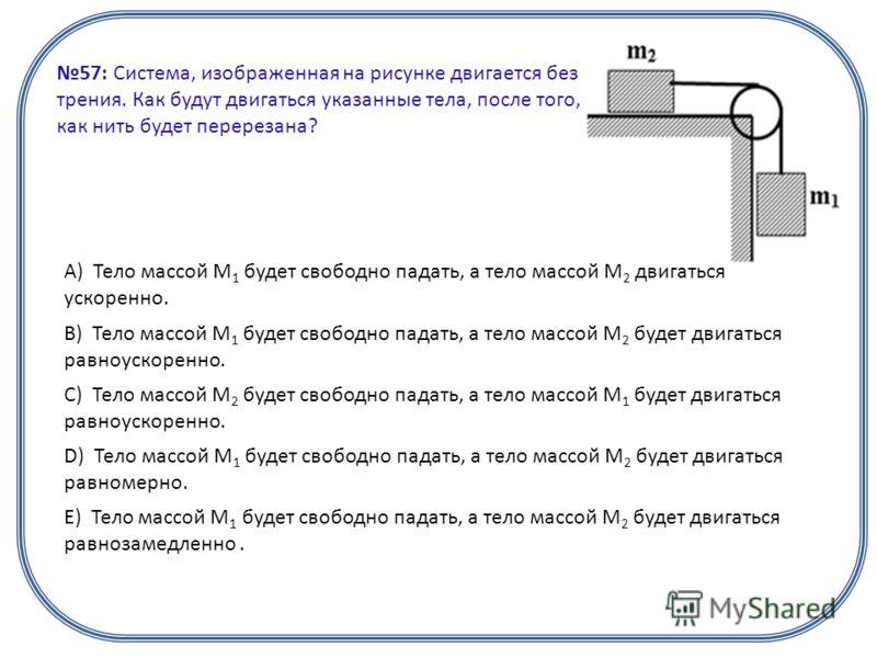 57: Система, изображенная на рисунке двигается без трения. Как будут двигаться указанные тела, после того, как нить будет перерезана? А) Тело массой М 1 будет свободно падать, а тело массой М 2 двигаться ускоренно. B) Тело массой M 1 будет свободно п