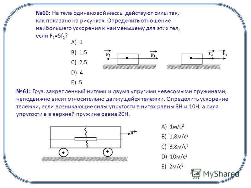 60: На тела одинаковой массы действуют силы так, как показано на рисунках. Определить отношение наибольшего ускорения к наименьшему для этих тел, если F 1 =5f 2 ? А) 1 B) 1,5 C) 2,5 D) 4 E) 5 61: Груз, закрепленный нитями и двумя упругими невесомыми