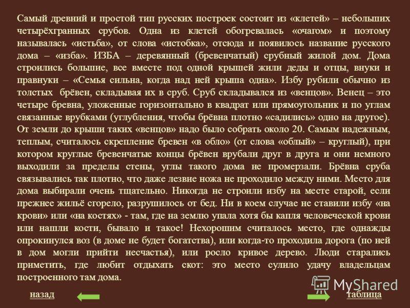 Самый древний и простой тип русских построек состоит из «клетей» – небольших четырёхгранных срубов. Одна из клетей обогревалась «очагом» и поэтому называлась «истьба», от слова «истобка», отсюда и появилось название русского дома – «изба». ИЗБА – дер
