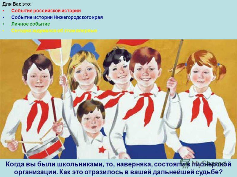 Для Вас это: Событие российской истории Событие истории Нижегородского края Личное событие Сегодня задумался об этом впервые Когда вы были школьниками, то, наверняка, состояли в пионерской организации. Как это отразилось в вашей дальнейшей судьбе?